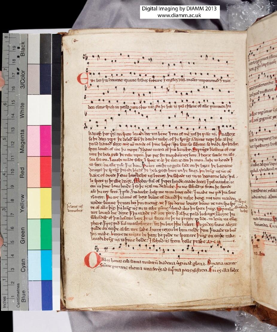© Corpus Christi College, MS 59 f.113v. 'Edi beo thu', late 13th century.